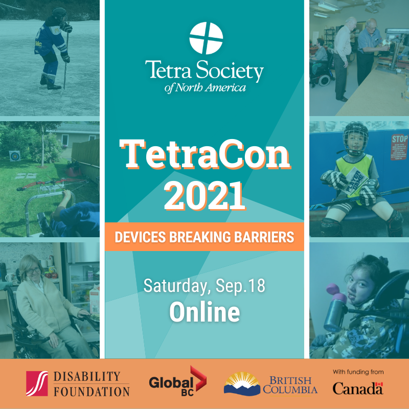Collage of Tetra members and their adaptive devices. TetraCon 2021. Devices Breaking Barriers. Saturday September 18th. Online.